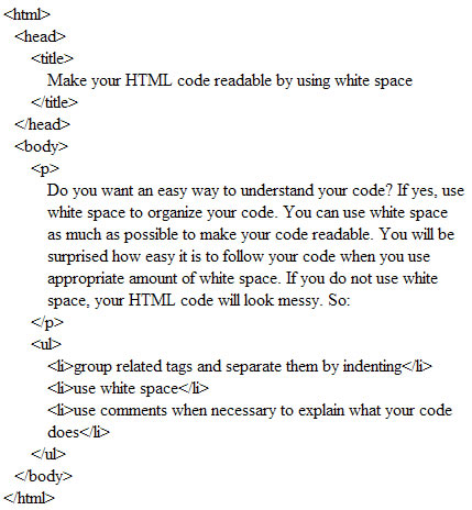 Readable HTML code