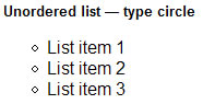 Unordered list — type circle