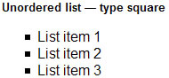 Unordered list — type square